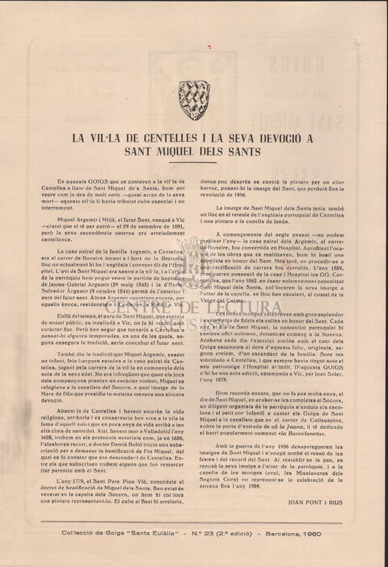 Goigs del gloriós Sant Miquel dels Sants singular advocat de la Vila i Hospital de Centelles
