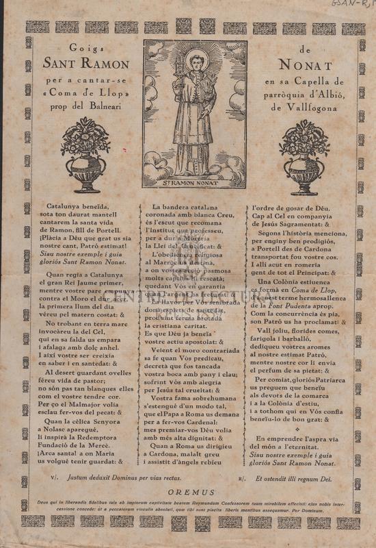 """Goigs de Sant Ramon Nonat per a cantar-se en sa Capella de """"Coma de Llops"""" parròquia d'Albió, prop del Balneari de Vallfogona"""