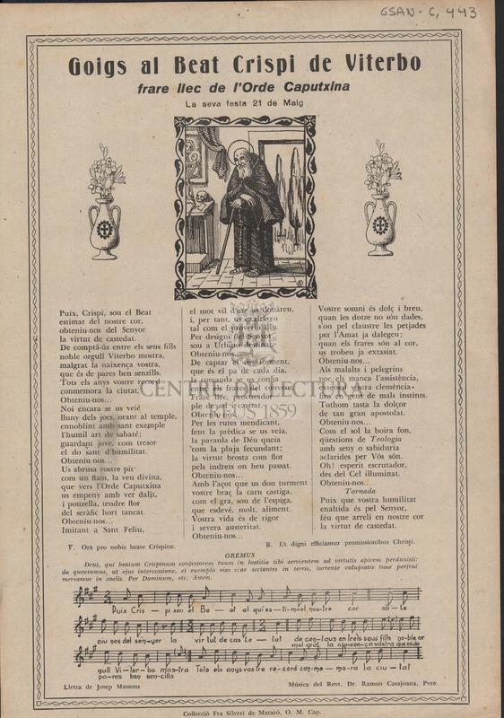 Goigs al Beat Crispi de Viterbo frare llec de l'Ordre Caputxina. La seva festa 21 de Maig