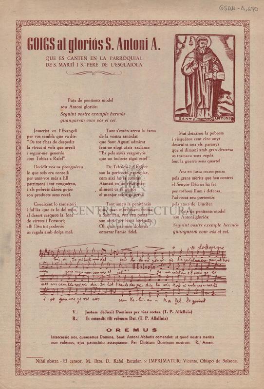 Goigs al gloriós S. Antoni A. que es canten en la parroquial de S. Martí i S. Pere de l'esglaiola.