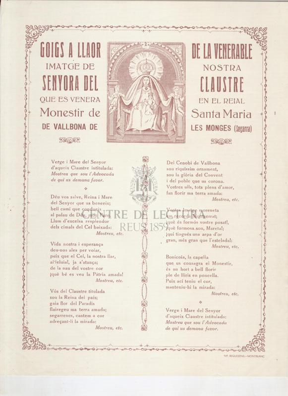 Goigs a llaor de la venerable imatge de Nostra Senyora del Claustre que es venera en el Reial Monestir de Santa Maria de Vallbona de les Monges (Segarra)