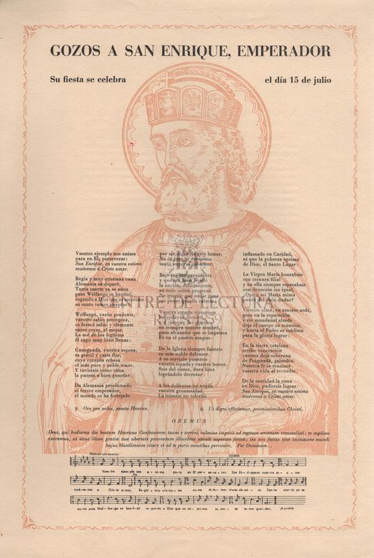 Gozos a San Enrique, emperador. Su fiesta se celebra el día 15 de julio