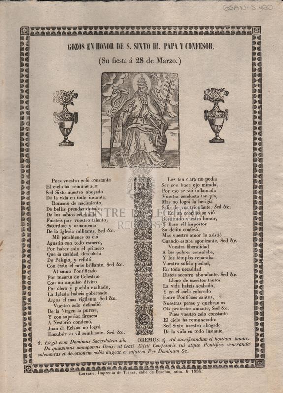 Gozos en honor de S. Sixto III. Papa y confessor