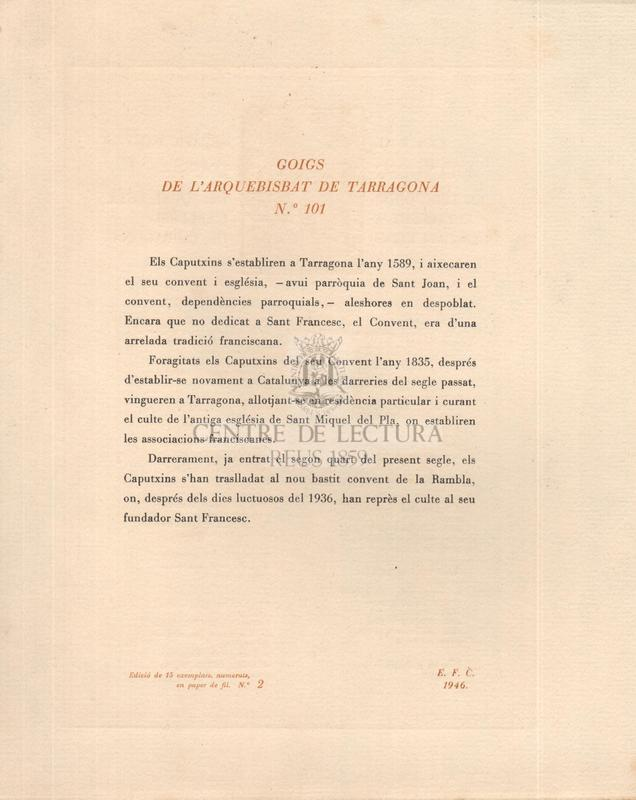 Goigs al seràfic Sant Francesc d'Assís el terç orde del qual està establert a l'Església dels caputxins de Tarragona
