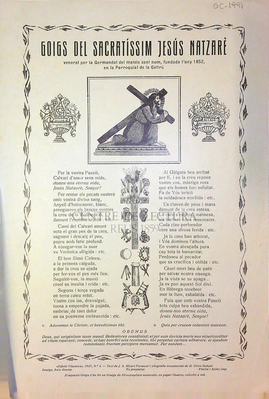 Goigs del Sacratíssim Jesús Natzarè venerat per la Germandat del mateix sant nom, fundada l'any 1852, en la Parroquial de la Geltrú