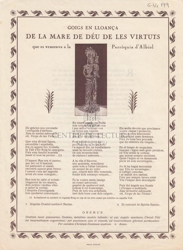 Goigs en lloança de la Mare de Déu de les Virtuts que es venerava a la Parròquia d'Albiol