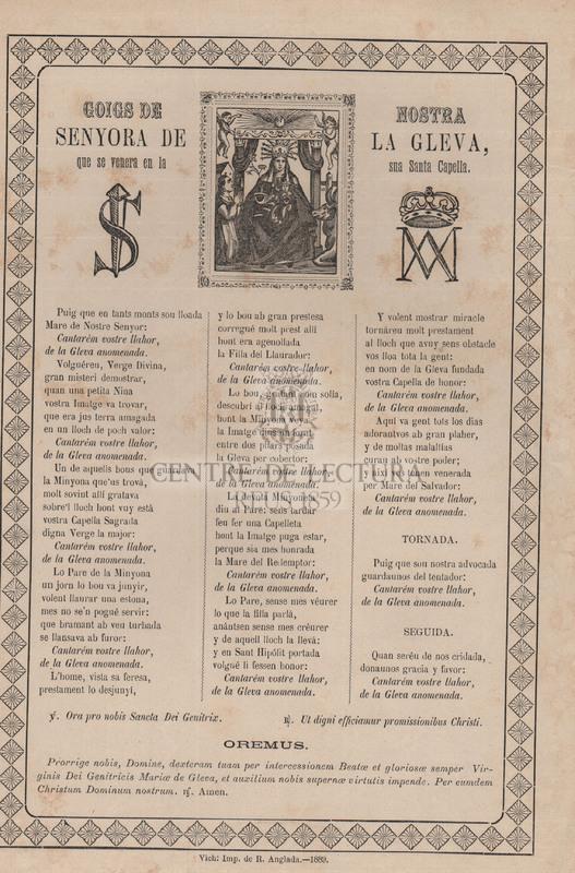 Goigs de Nostra Senyora de la Gleva, que se venera en la sua Santa Capella