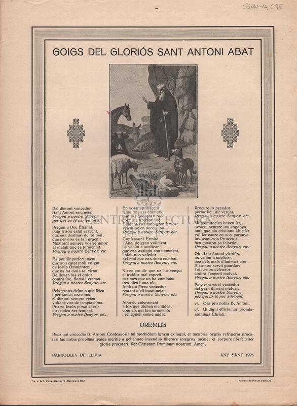 Goigs del gloriós Sant Antoni Abat.