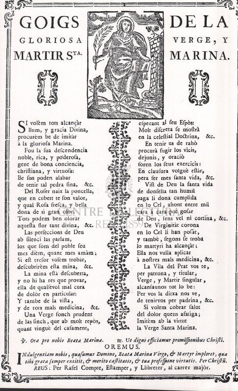 Goigs de la gloriosa verge, y martir Sta. Marina