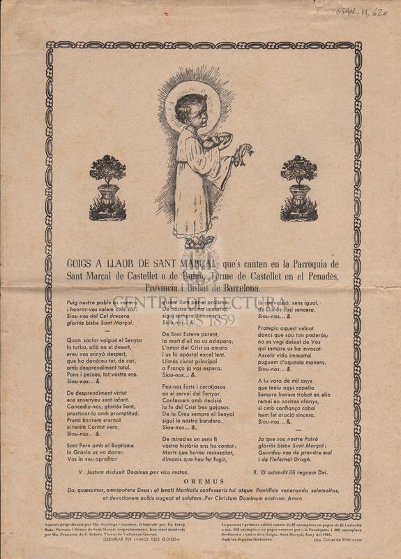 Goigs a llaor de Sant Marçal, que's canten en la Parròquia de Sant Marçal de Castellet o de Rubió, Terme de Castellet en el Penadès, Provincia i Bisbat de Barcelona