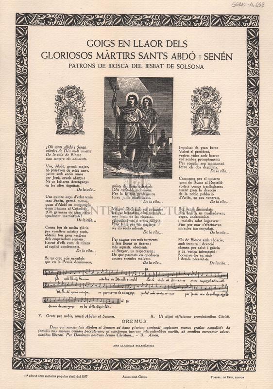 Goigs en llaor dels gloriosos màrtirs sants Abdó i Senén patrons de Biosca del Bisbat de Solsona.