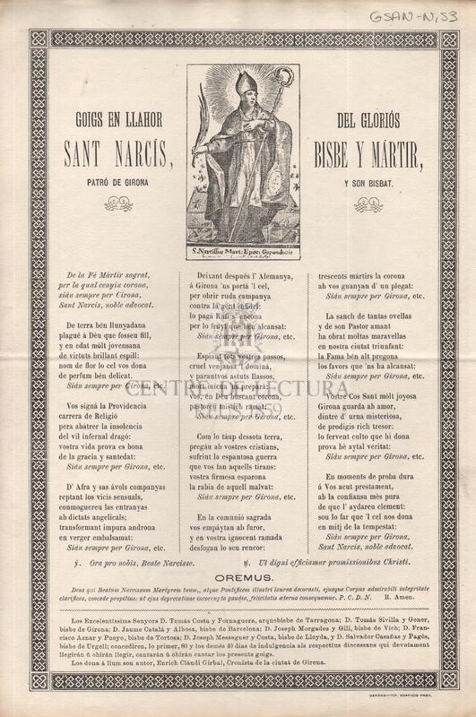 Goigs en llahor del gloriós Sant Narcís, bisbe y mártir patró de Girona y son Bisbat