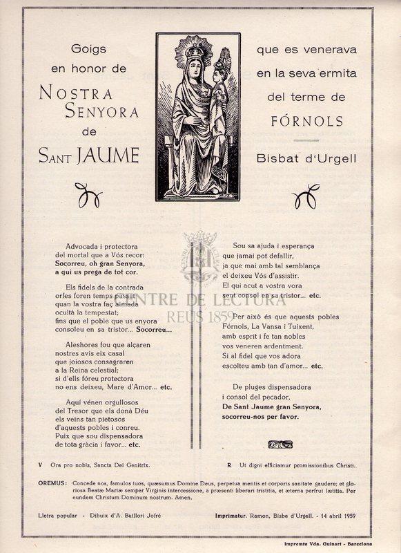 Goigs que es venerava en honor de Nostra Senyora de Sant Jaume que es venerava en la seva ermita del terme de Fórnols. Bisbat d'Urgell