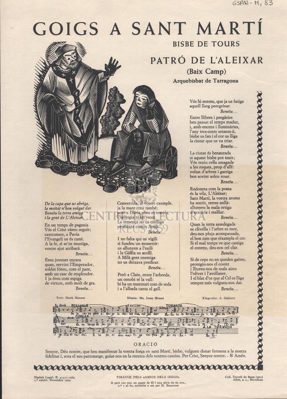Goigs a Sant Martí Bisbe de Tours patró de l'Aleixar (Baix Camp) Arquebisbat de Tarragona