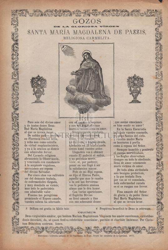 Gozos de la gloriosa vírgen santa María Magdalena de Pazzis, religiosa carmelita