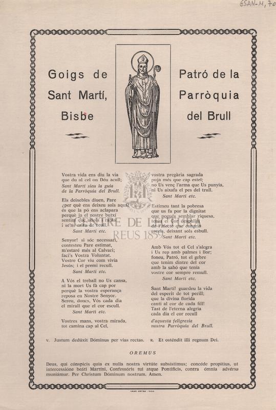 Goigs de Sant Martí, Bisbe. Patró de la Parròquia del Brull