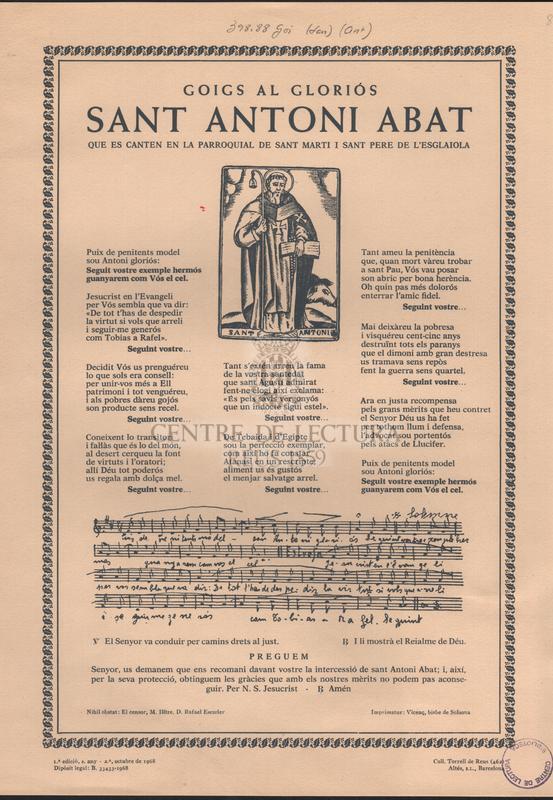 Goigs al gloriós sant Antoni Abat que es canten en la parroquia de sant Martí i sant Pere de l'Esglaiola.