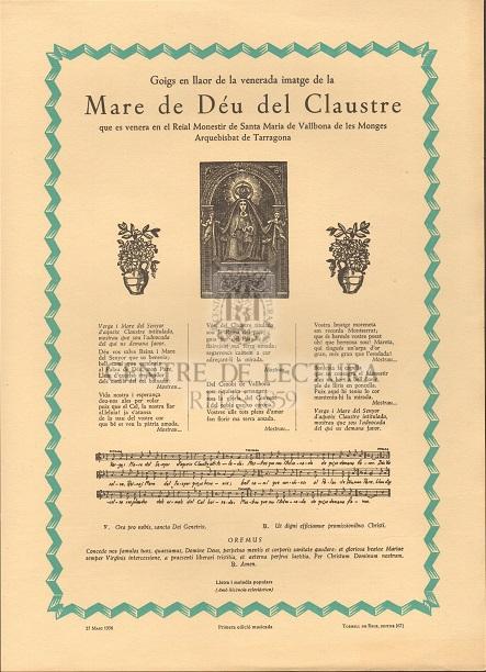 Goigs en llaor de la venerada imatge de la Mare de Déu del Claustre que es venera en el Reial Monestir de Santa Maria de Vallbona de les Monges Arquebisbat de Tarragona
