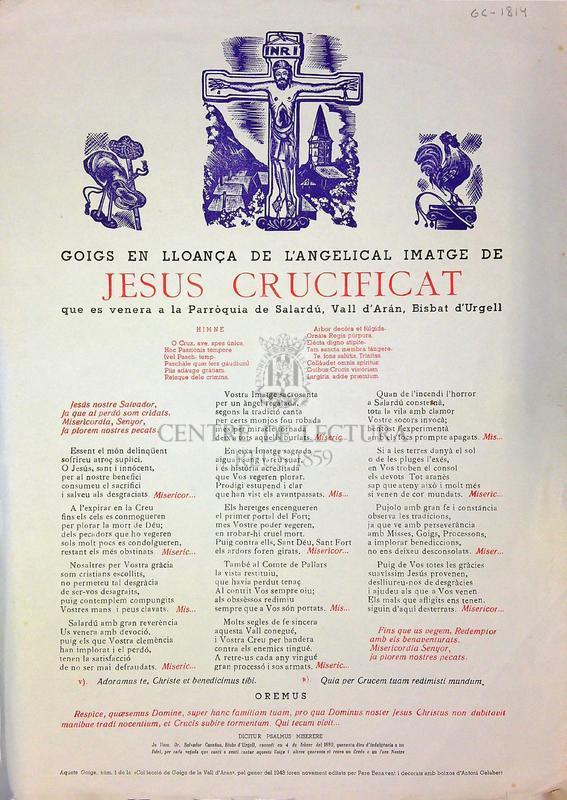 Goigs en lloança de l'angelical imatge de Jesus Crucificat que es venera a la parròquia de Salardú, Vall d'Aran, Bisbat d'Urgell