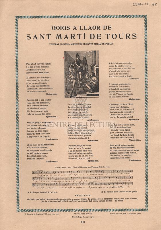 Goigs a llaor de Sant Martí de Tours venerat al reial monestir de Santa Maria de Poblet