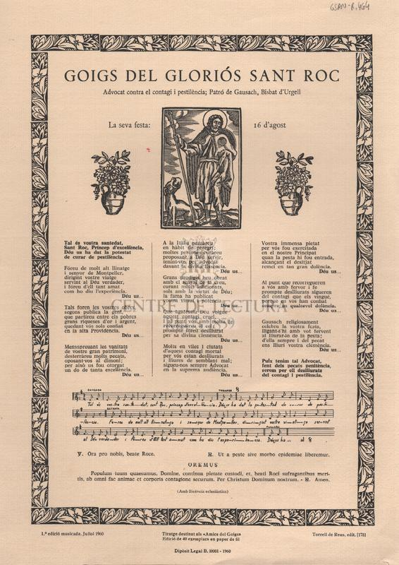 Goigs del gloriós Sant Roc. Advocat contra el contagi i pestilència; Patró de Gausach, Bisbat d'Urgell