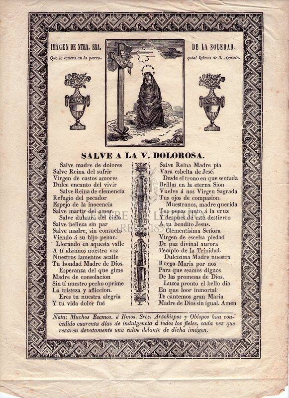 Imágen de Ntra. Sra. de la Soledad, Que se venera en la parroquial Iglesia de S. Agustin