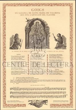 Goigs en lloança de Santa Maria de Vallbona que sota l'advocació del Claustre es venera en el Reial Monestir cistercenc de Vallbona de les Monges