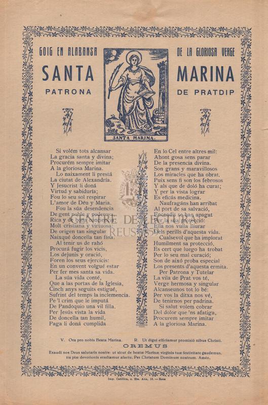 Goig en alabansa de la gloriosa verge Santa Marina patrona de Pratdip