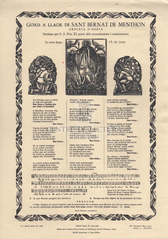Goigs a llaor de Sant Bernat de Menthon. Ardiaca d'Aosta. Declarat per S. S. Pius XI patró dels excursionistes i muntanyencs. La seva festa: 15 de Juny