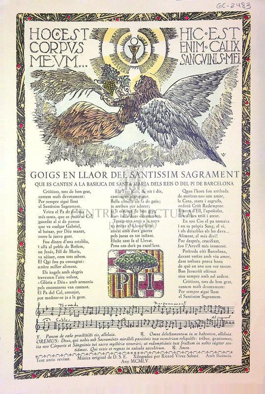 Goigs en llaor del santissim sagrament que es canten a la basílica de Santa Maria dels Reis o del Pi de Barcelona