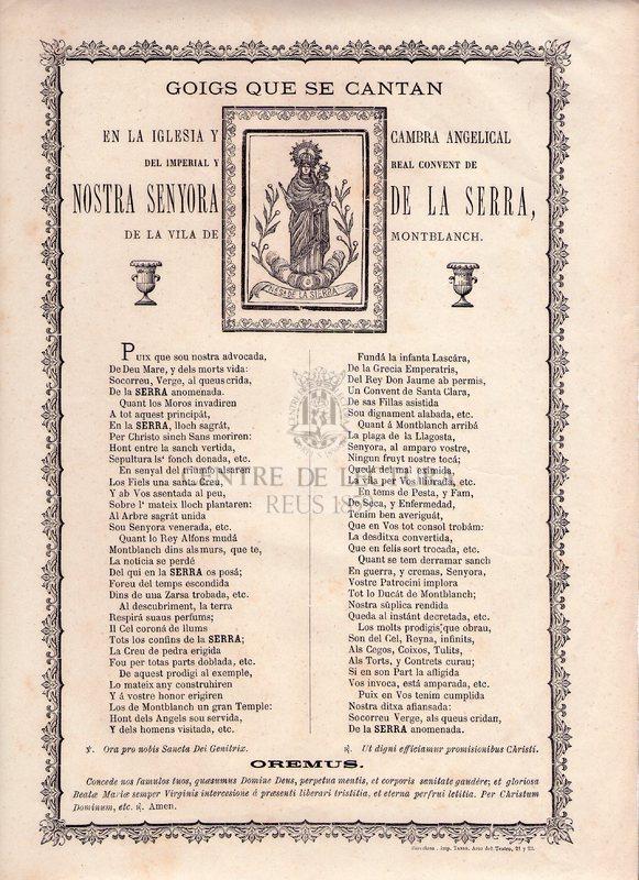 Goigs que se cantan en la iglesia y cambra angelical del imperial y real convent de Nostra Senyora de la Serra, de la Vila de Montblanch