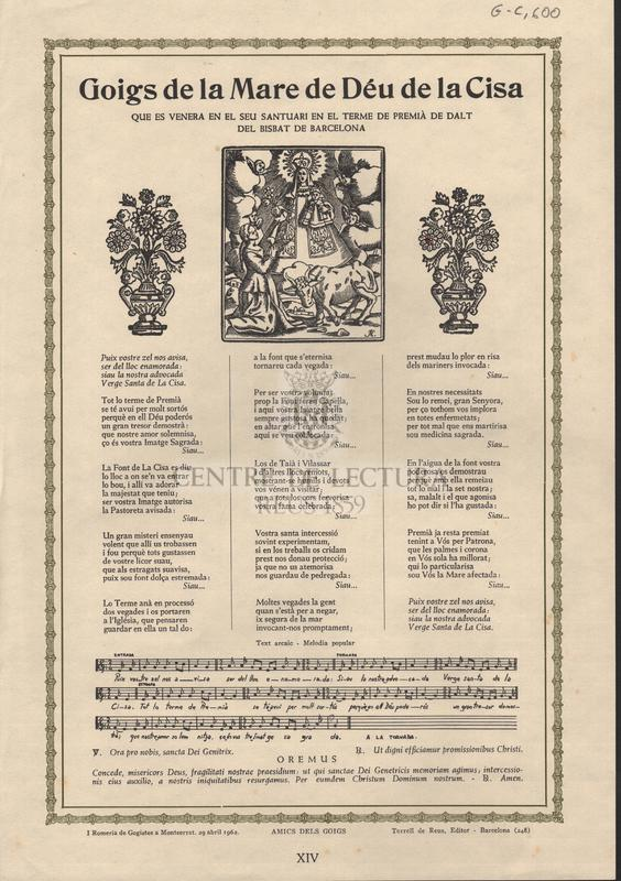 Goigs de la Mare de Déu de la Cisa que es venera en el seu santuari en el terme de Premià de Dalt del Bisbat de Barcelona.