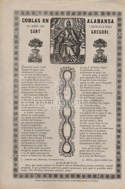 Coblas en alabansa del gloriós Papa y Doctor de la Iglesia Sant Gregori