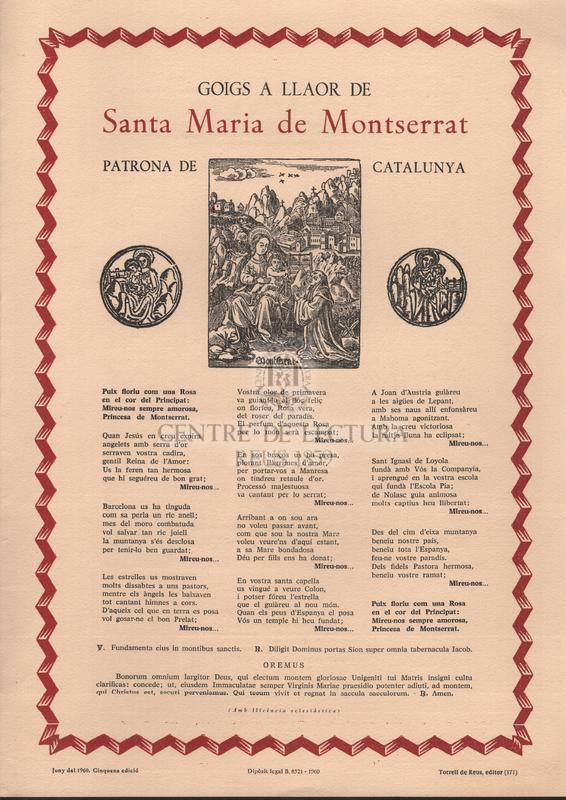 Goigs a Santa Maria de Montserrat.