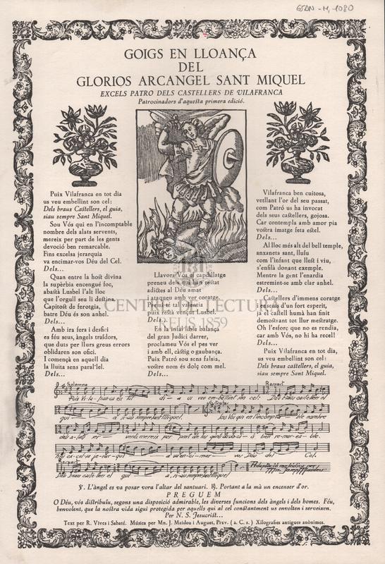 Goigs en lloança del glorios arcangel Sant Miquel excels patro dels castellers de Vilafranca (patrocinadors d'aquesta primera edició)