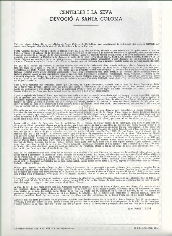 Himne a santa Coloma, patrona de la parròquia de Santa Coloma de Centelles, Bisbat de Vic