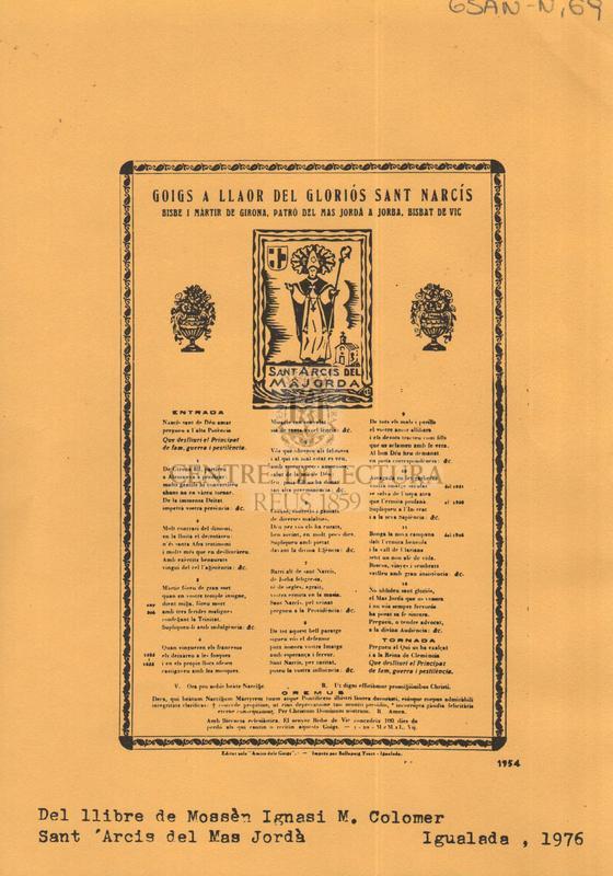 Goigs a llaor del gloriós Sant Narcís bisbe i martir de Girona, Patró del Mas Jordà a Jorba, Bisbat de Vic