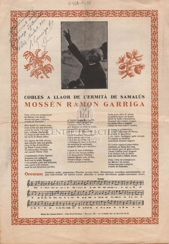 Cobles a llaor de l'ermità de Samalús Mossèn Ramon Garriga
