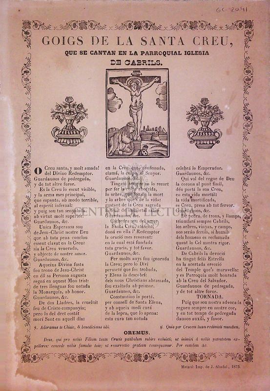 Goigs de la Santa Creu, que se cantan en la parroquial iglesia de Cabrils