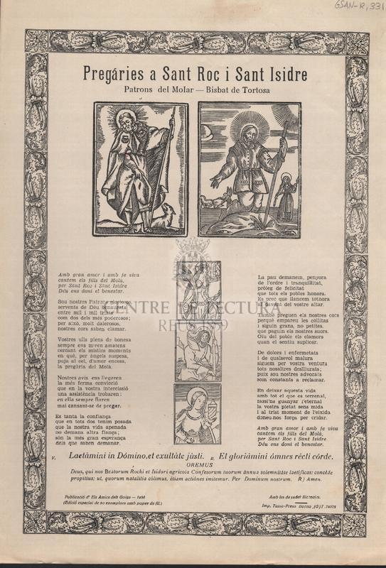 Pregáries a Sant Roc i Sant Isidre. Patrons del Molar. Bisbat de Tortosa