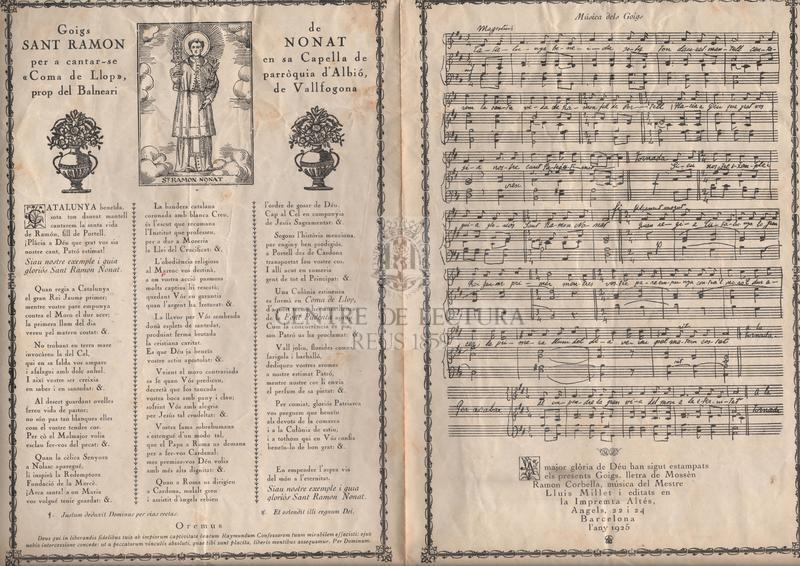 """Goigs de Sant Ramon Nonat per a cantar-se en sa Capella de """"Coma de Llop"""" parròquia d'Albió, prop del Balneari de Vallfogona"""