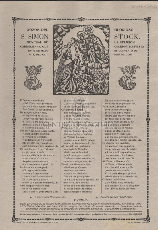 Gozos del glorioso S. Simon Stock, general de la religion carmelitana, que celebra su fiesta en 16 de Mayo el convento de N. S. del Carmen de Olot