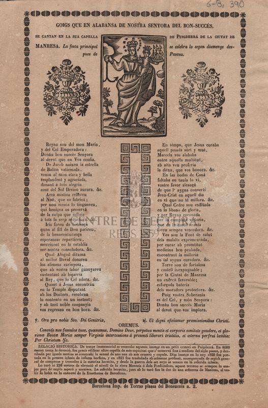 Goigs que en alabansa de Nostra Senyora del Bon-Succés, se cantan en la sua capella de Puigderrá de la ciutat de Manresa. La festa principal se celebra lo segon diumenge despues de Pascua