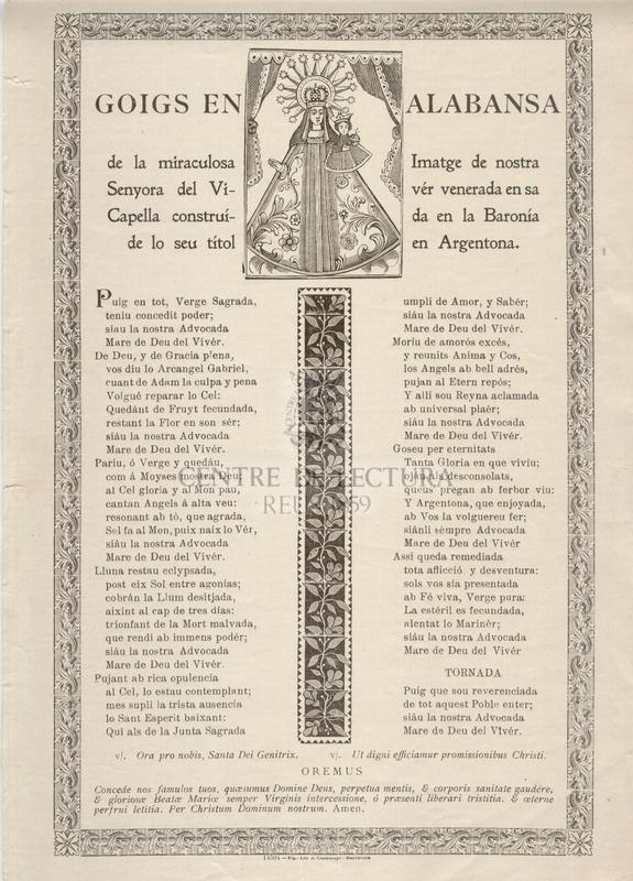 Goigs en lalabansa de la miraculosa Imatge de nostra Senyora del Vivér venerada en sa Capella construída en la Baronía de lo seu títol en Argentona