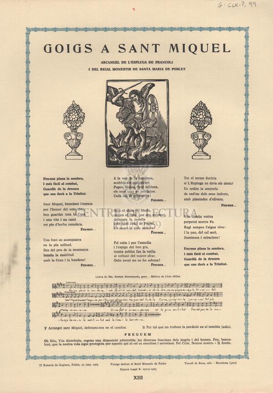 Goigs a Sant Miquel arcàngel de l'Espluga de Francolí i del reial Monestir de Santa Maria de Poblet.