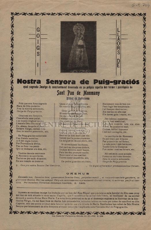 Nostra Senyora de Puig-graciós qual sagrada Imatge és constantment venerada en sa própia capella del terme i parróquia de Sant Pau de Monmany Bisbat de Ba