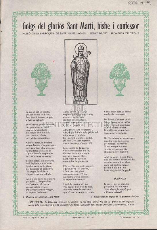 Goigs del gloriós Sant Martí, bisbe i confessor patró de la parròquia de Sant Martí Sacalm- Bisbat de Vic- Província de Girona<br /><br />