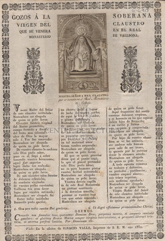 Gozos á la Soberana Virgen del Claustro que se venera en el Real Monsterio de Vallbona