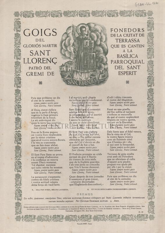 Goigs del Gloriós Màrtir Sant Llorenç, Patró del Gremi de Fonedors de la ciutat de Terrassa que es canten a la Basílica Parroquial del Sant Esperit