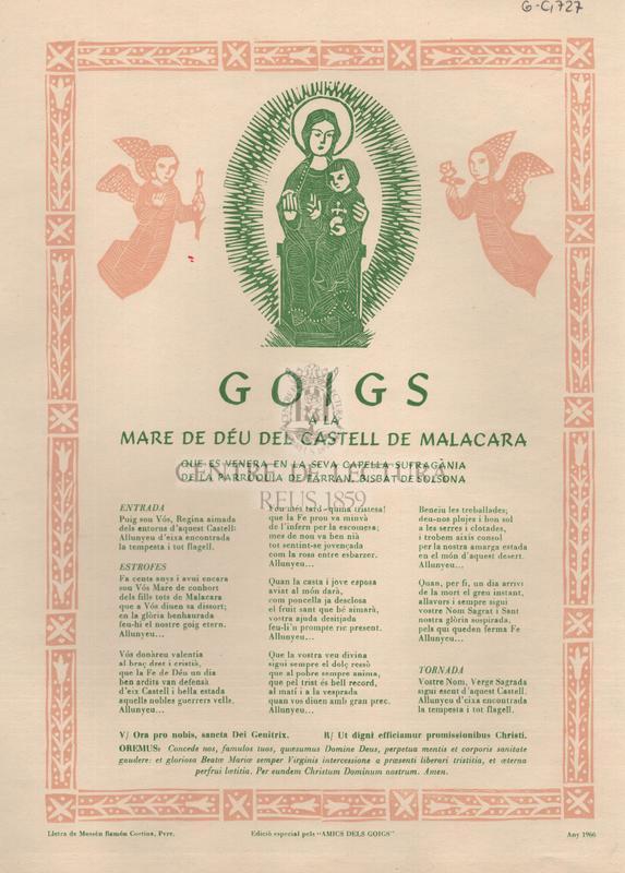 Goigs a la Mare de Déu del castell de Malacara que es venera en la seva capella sufragània de la Parròquia de Farran, Bisbat de Solsona